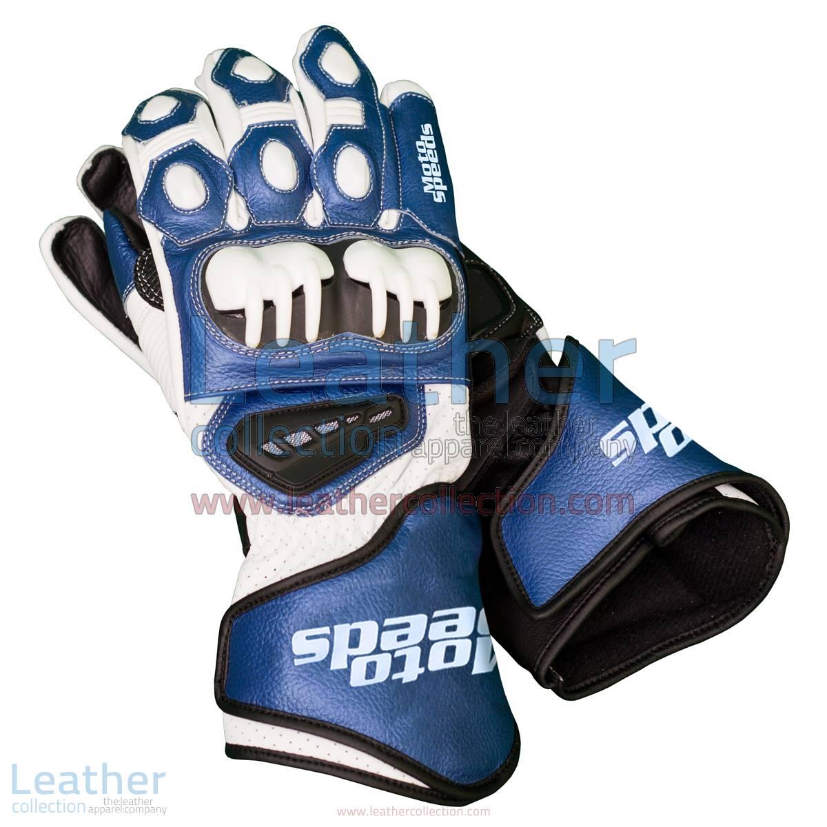 Blue & White Leather Biker Gloves | biker gloves,leather biker gloves
