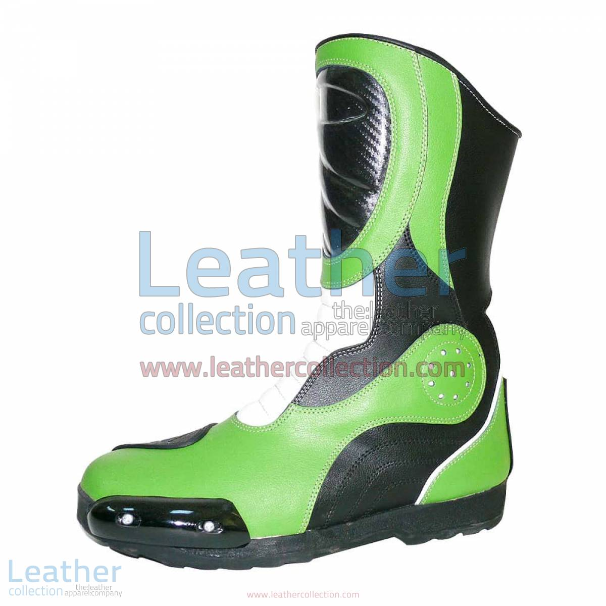 Bravo Green Leather Biker Boots