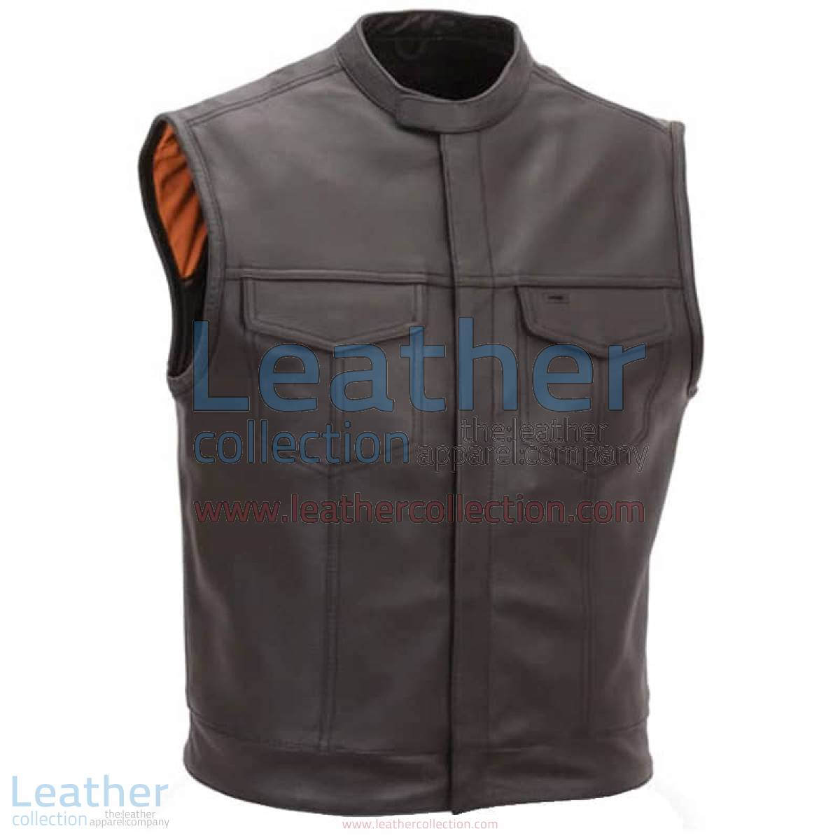 Brown Motorcycle Vest with Scooter Collar | motorcycle vest,brown motorcycle vest