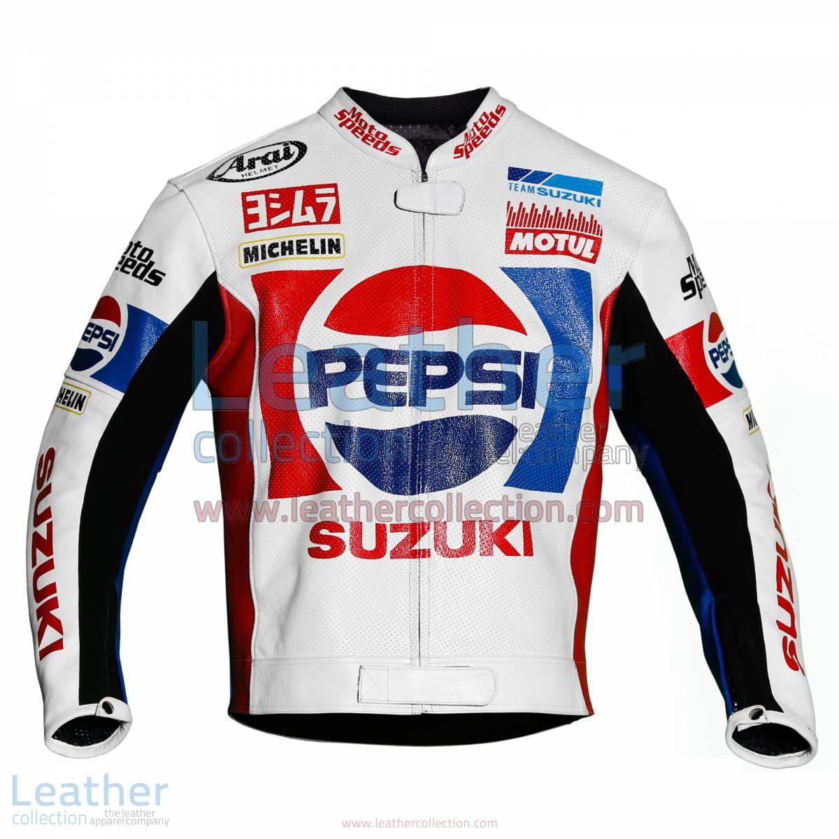 Kevin Schwantz Pepsi Suzuki GP 1988 Motorbike Jacket | Kevin Schwantz jacket,Kevin Schwantz Pepsi Suzuki GP 1988 motorcycle Jacket