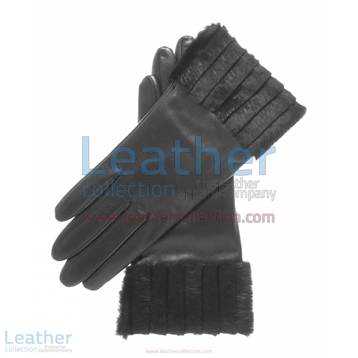Ladies Fashion Black Fur Cuff Gloves | ladies fashion gloves,fur cuff gloves
