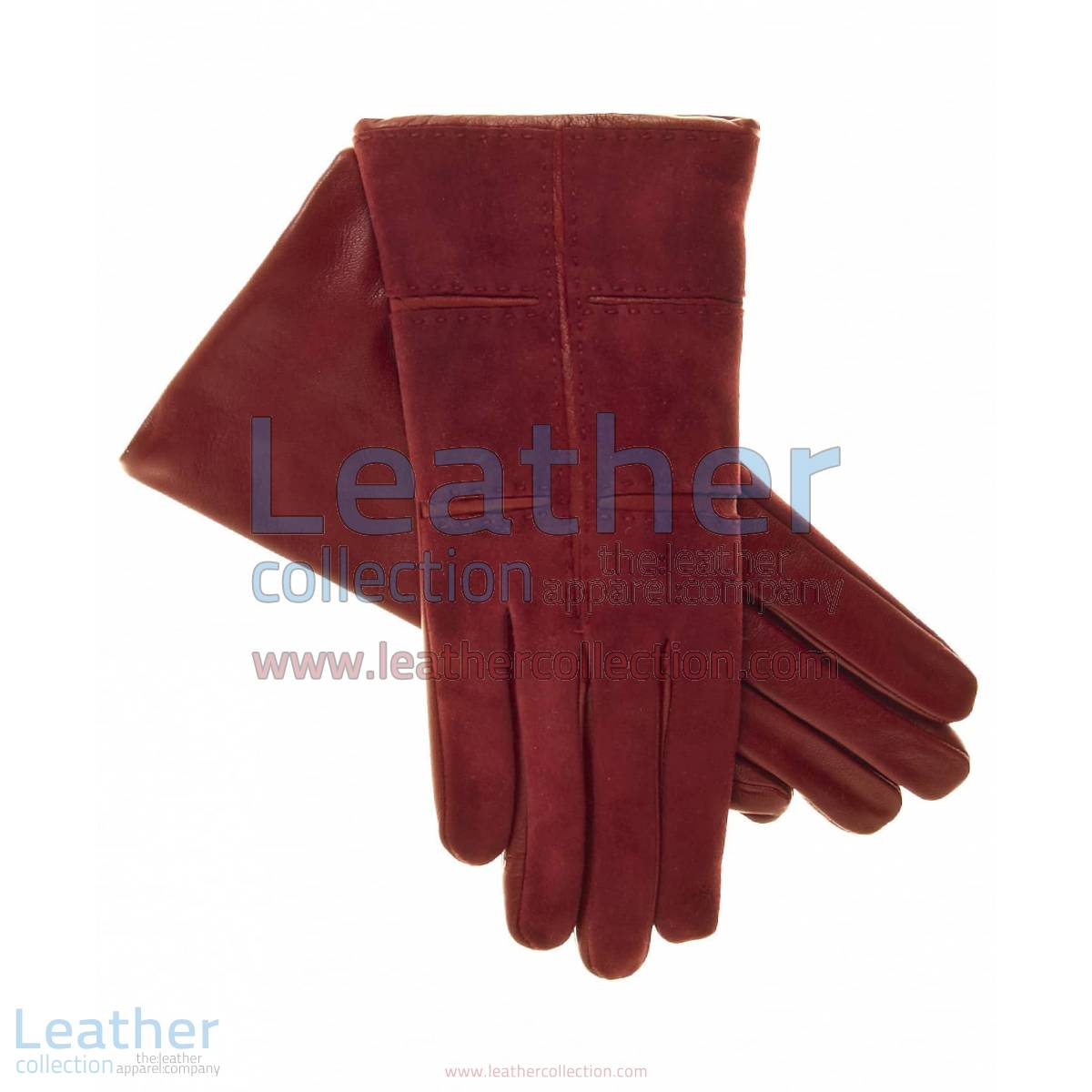 Ladies Red Suede Gloves with Lambskin Palms and Inserts | suede gloves,red suede gloves