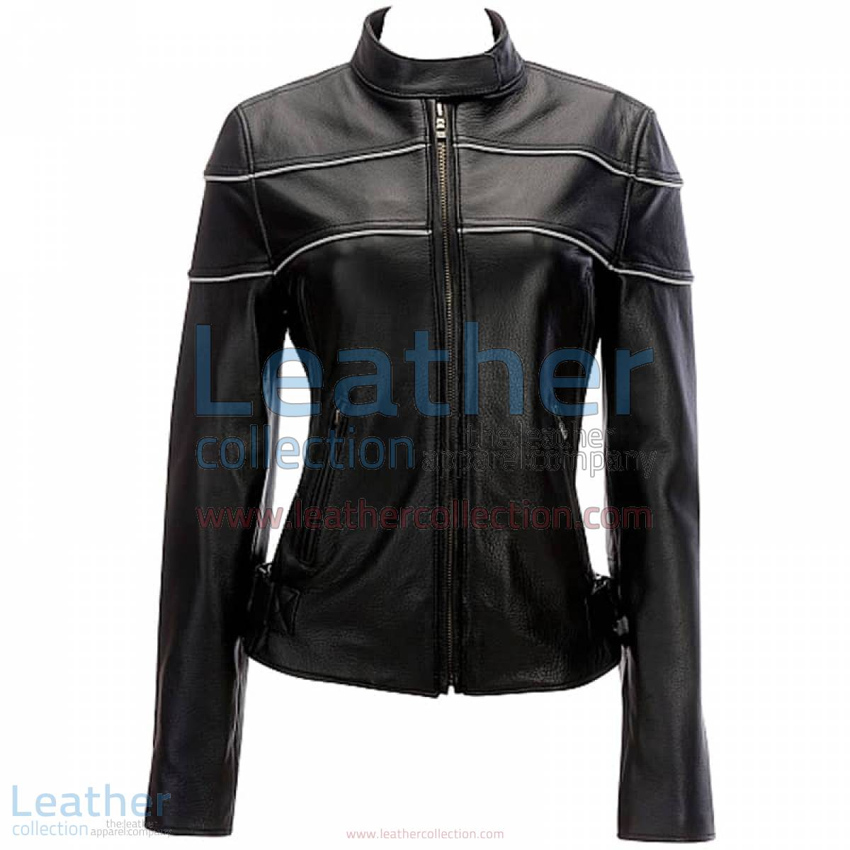 Leather Reflective Piping Jacket Black | jacket black,piping jacket