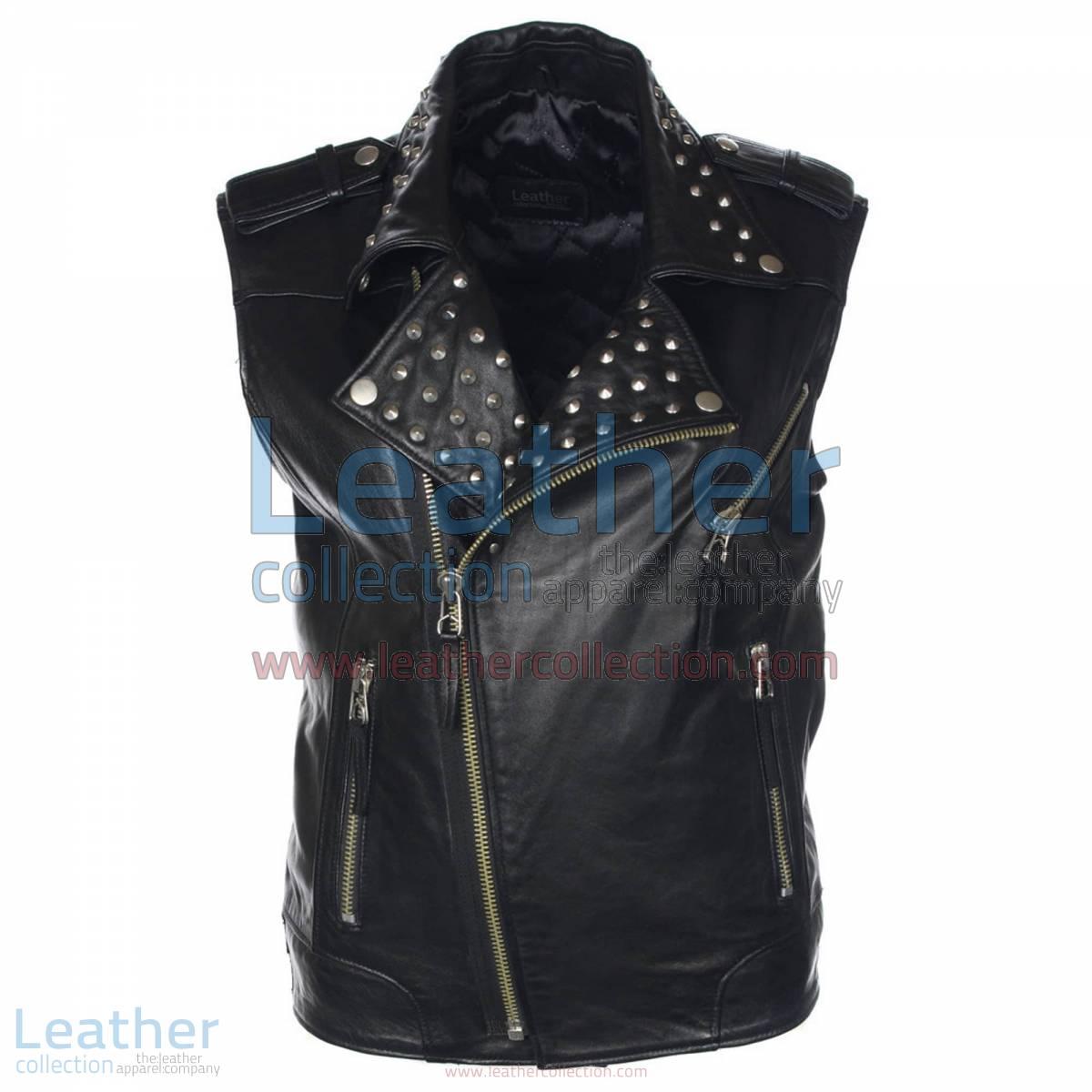 Men Studded Collar Biker Leather Vest | studded leather vest,studded vest