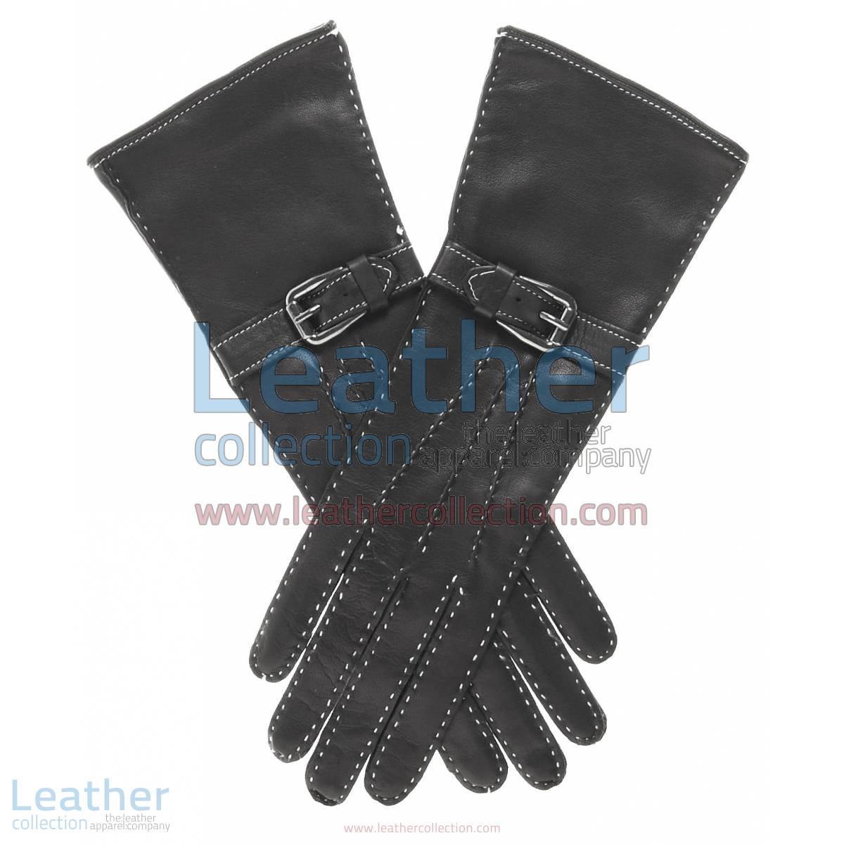 Silk Lined Leather Gloves with Decorative Buckle | silk lined leather gloves,leather gloves