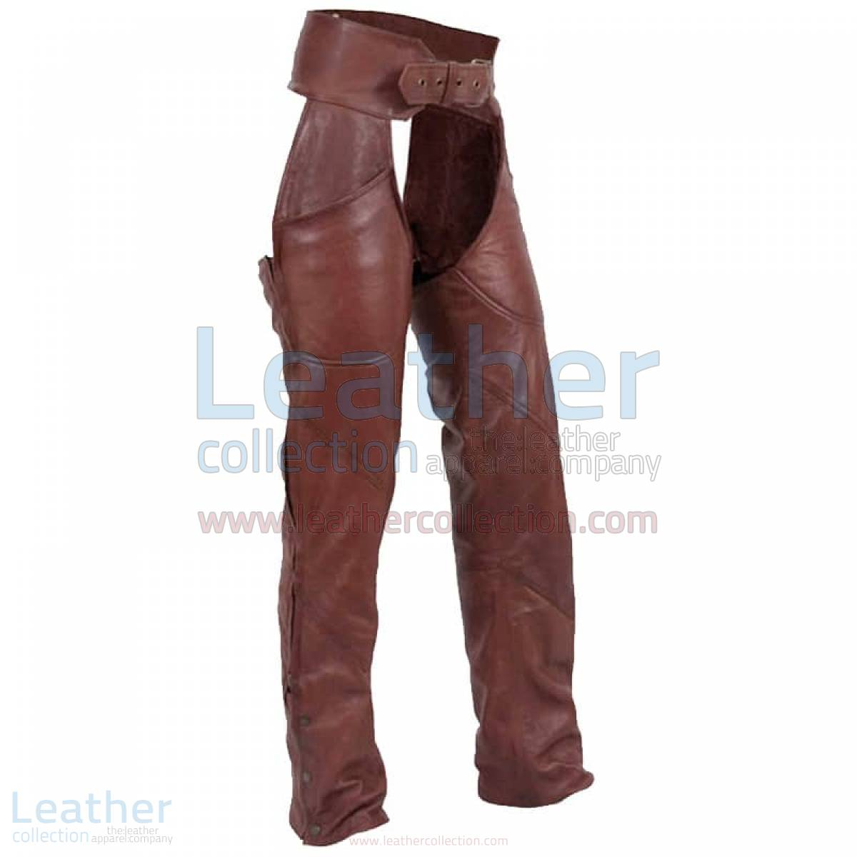 Antique Brown Leather Motorcycle Chaps