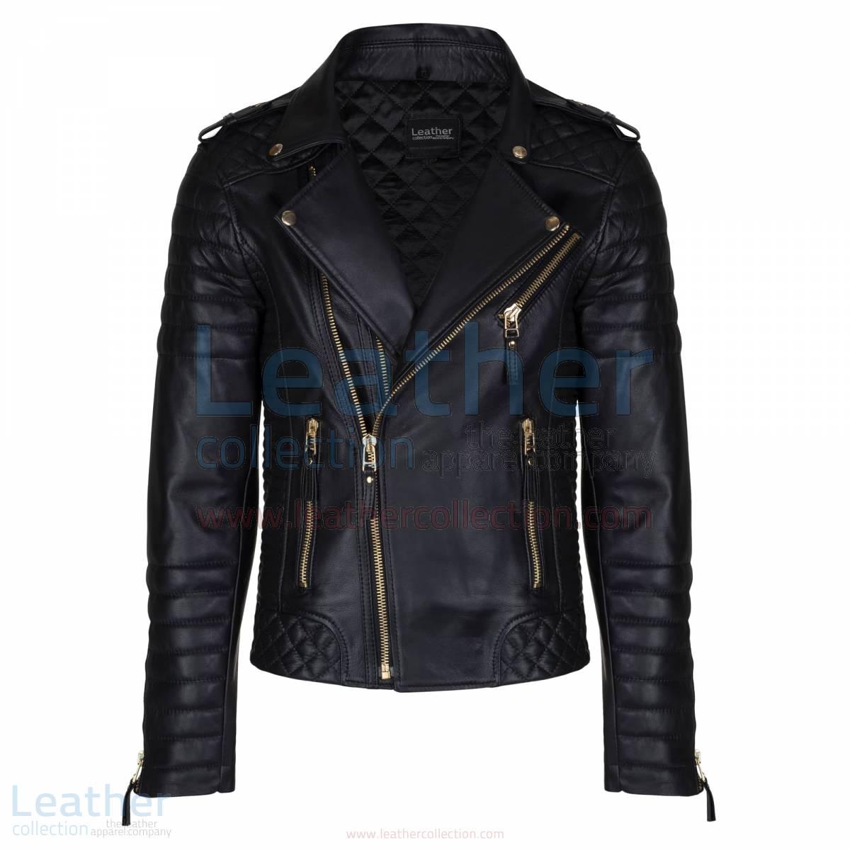 Quilted Mens Black Moto Jacket with Golden Hardware –  Jacket