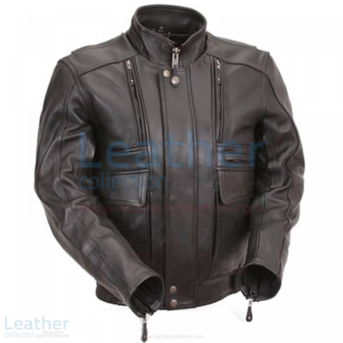 Biker Naked Leather Jacket with Side Stretch Panels