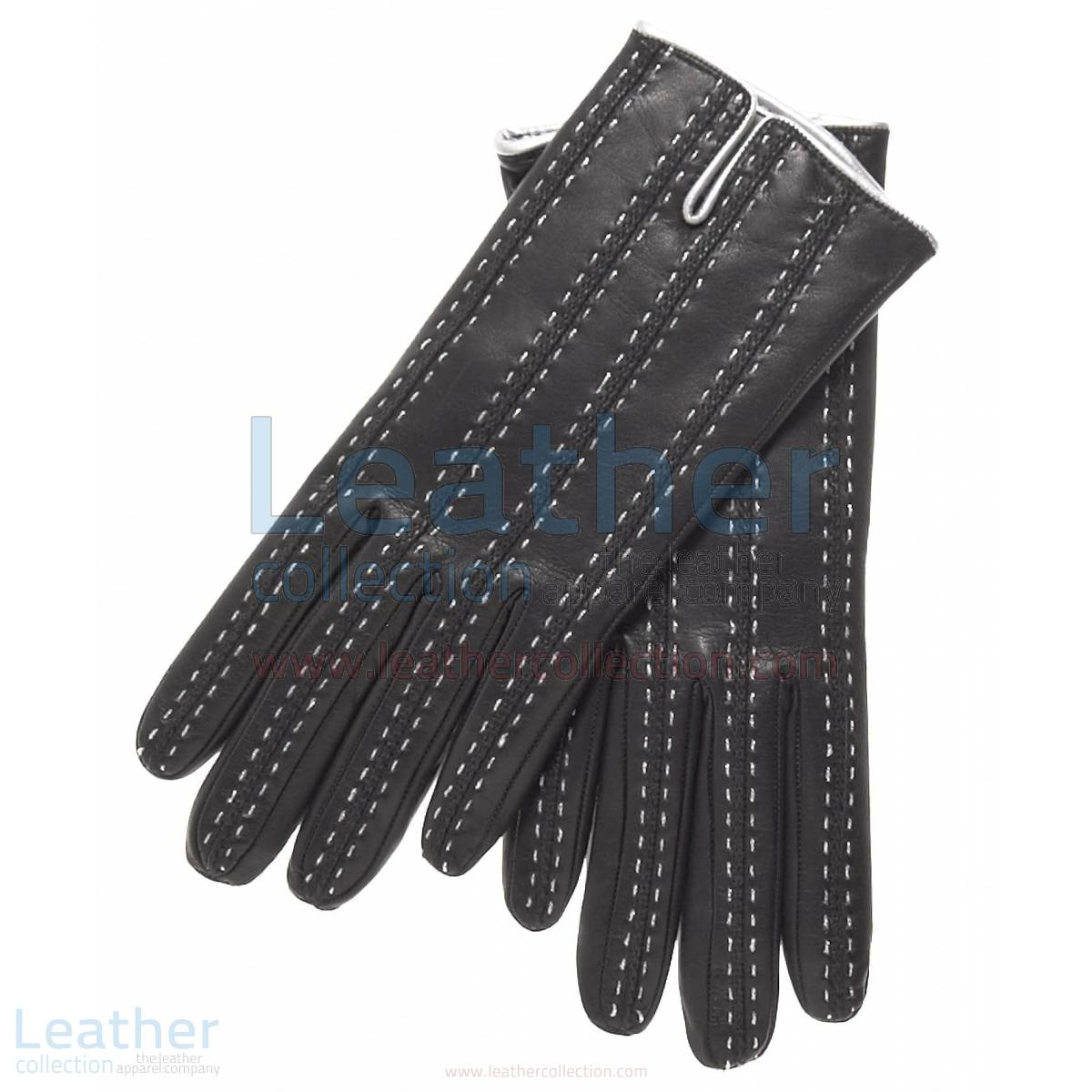 Black Cashmere Lined Leather Gloves Womens