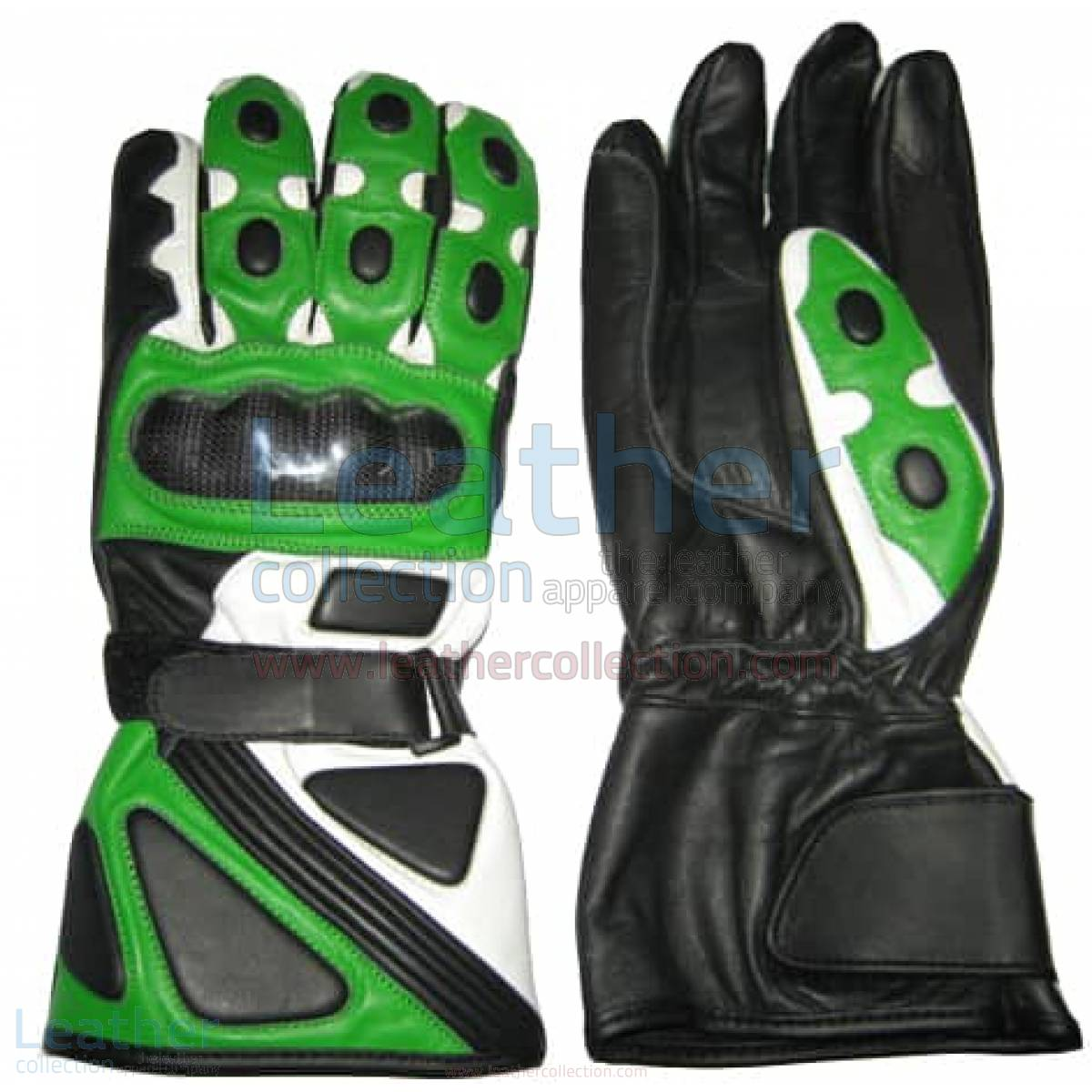 Bravo Green Motorcycle Race Gloves
