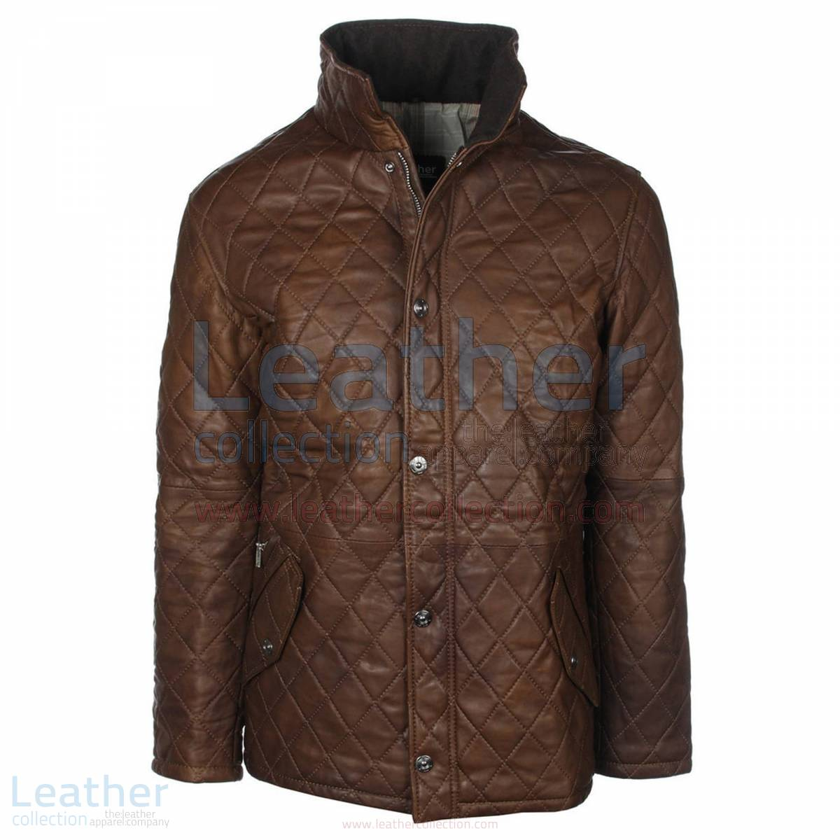 Brown Diamond Leather Jacket –  Jacket