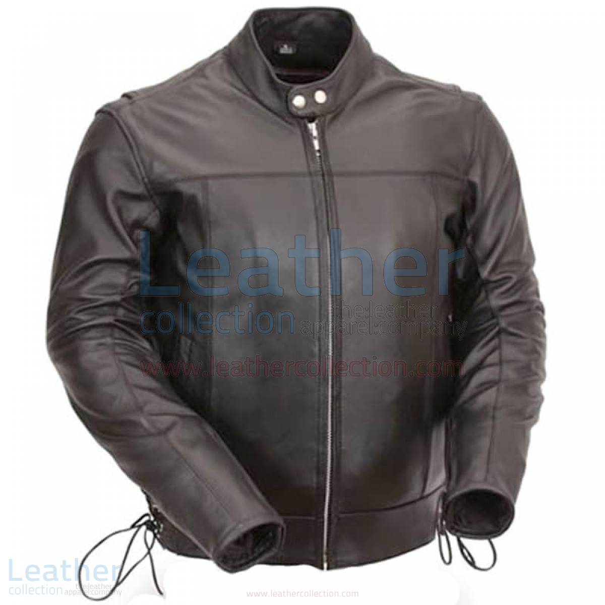 Classic Leather Scooter Jacket with Side Laces