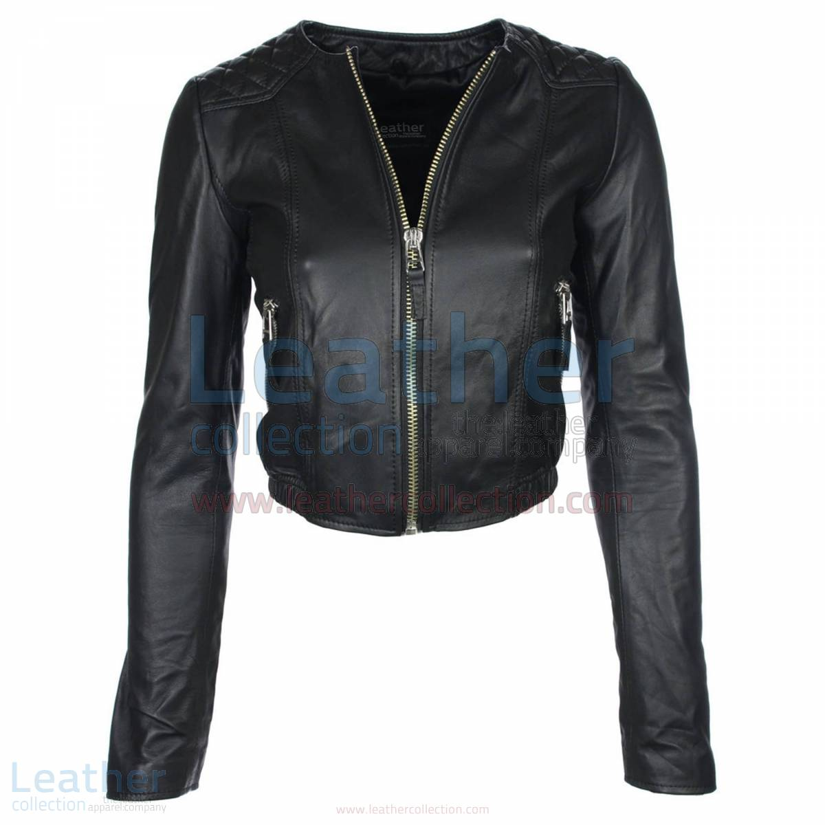 Ladies Short & Collarless Leather Jacket –  Jacket