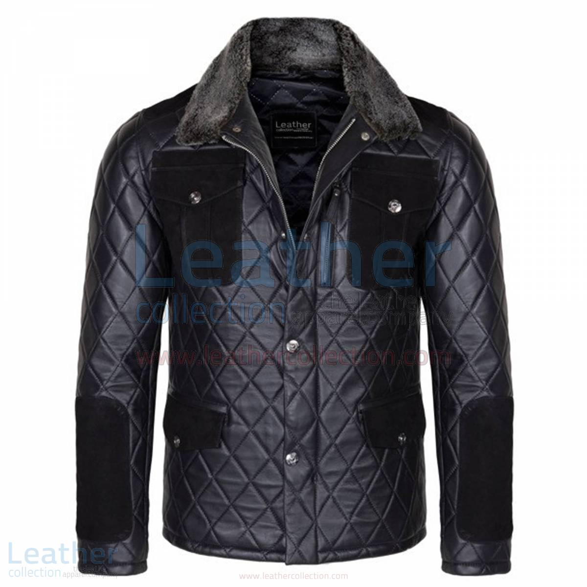 Diamond Leather Jacket with Fur Collar & Flapped Pockets –  Jacket