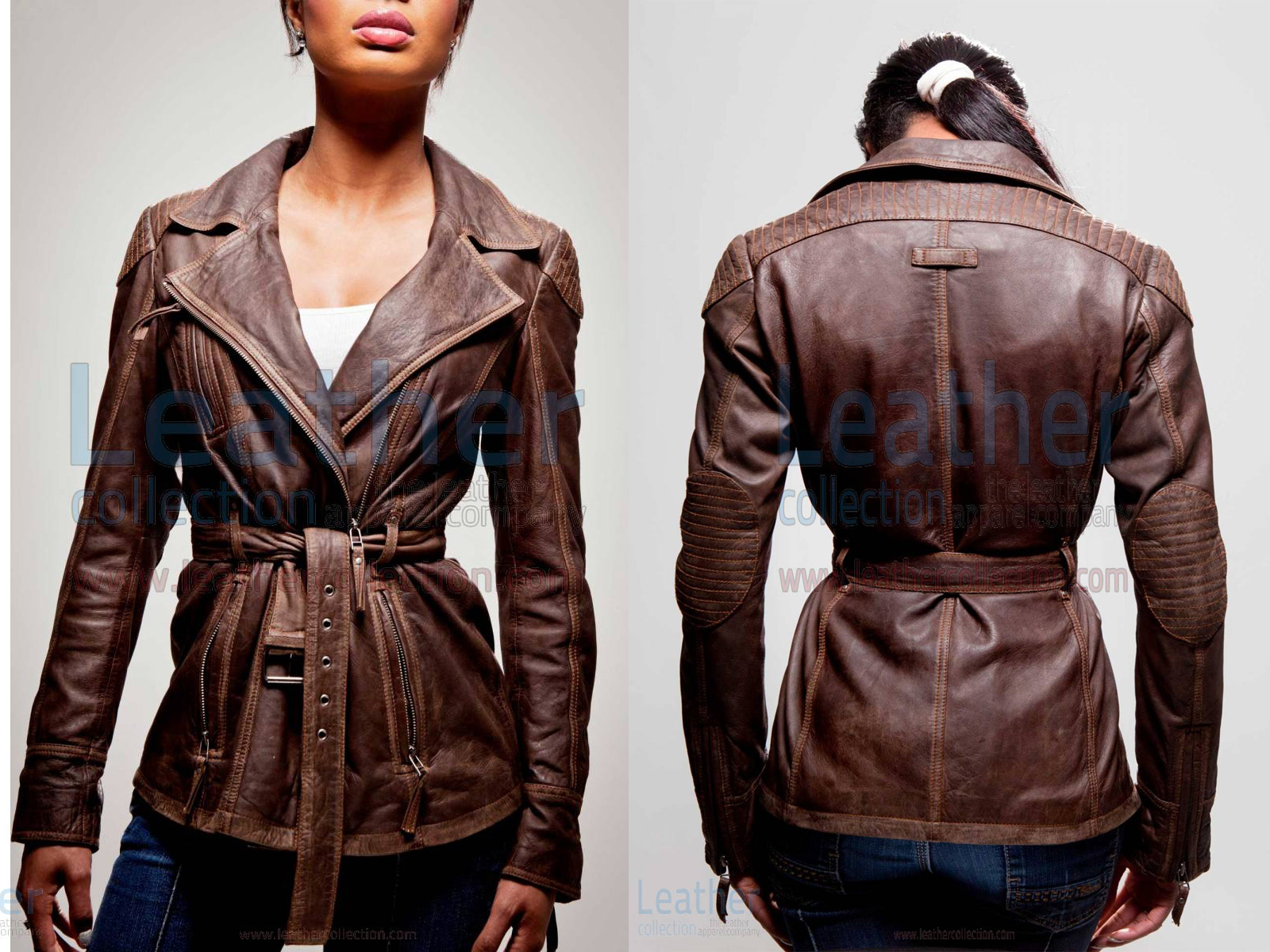 WOMEN LEATHER MILITARY JACKET
