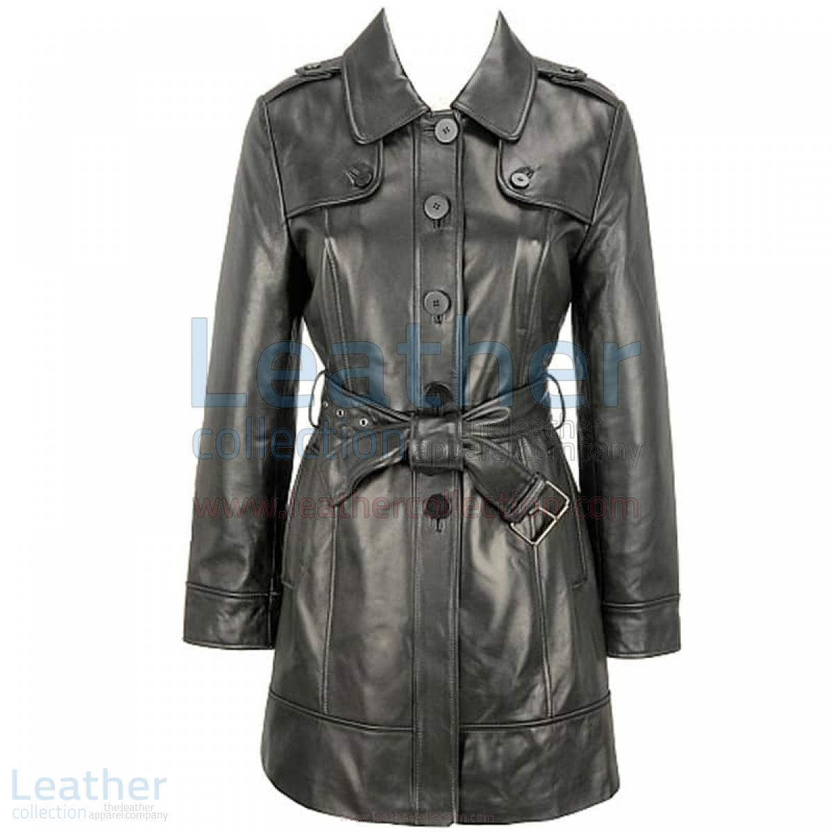 Leather 3/4 Length Asymmetrical Coat –  Coat