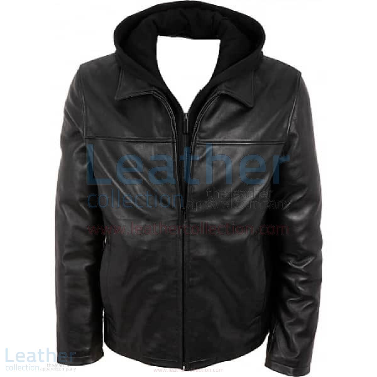 Leather Casual Jacket with Hood –  Jacket