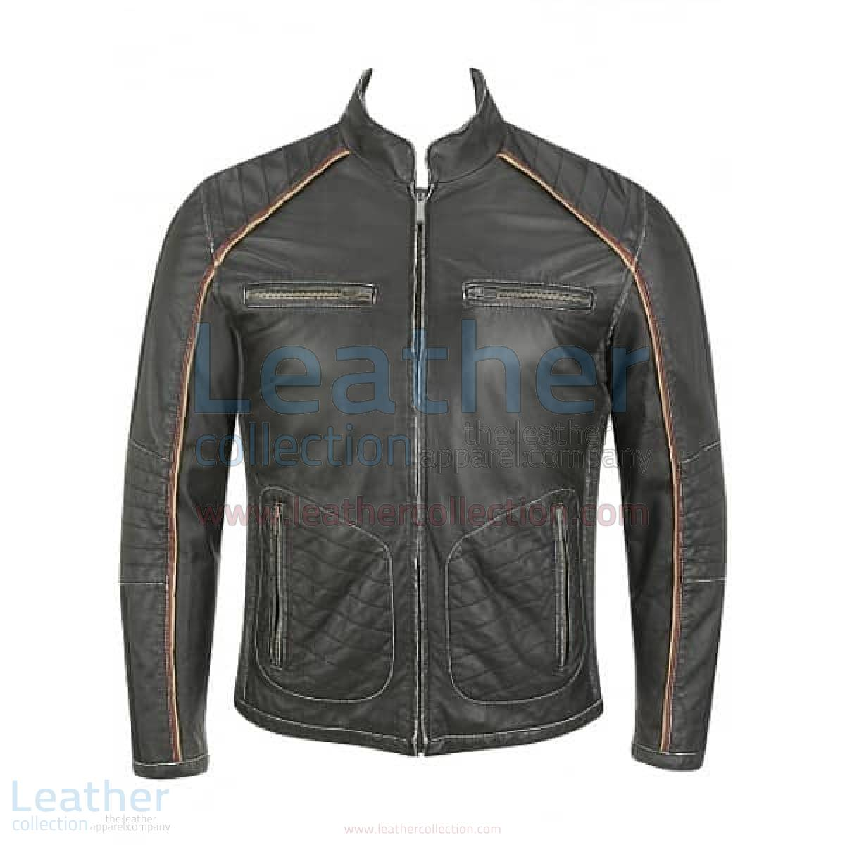 Semi Motorbike Casual Leather Piping Jacket
