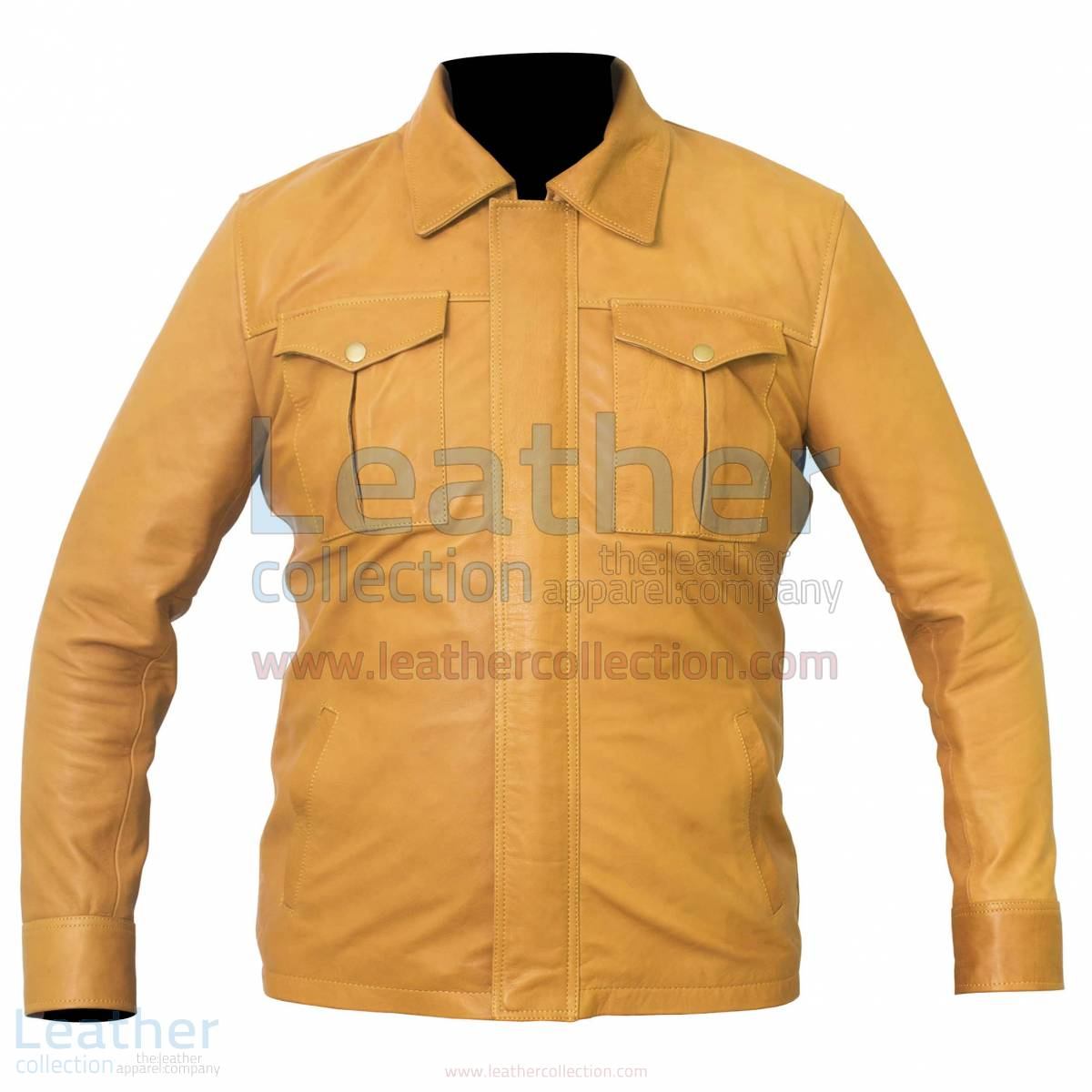 Shirt Style Camel Color Leather Jacket –  Jacket