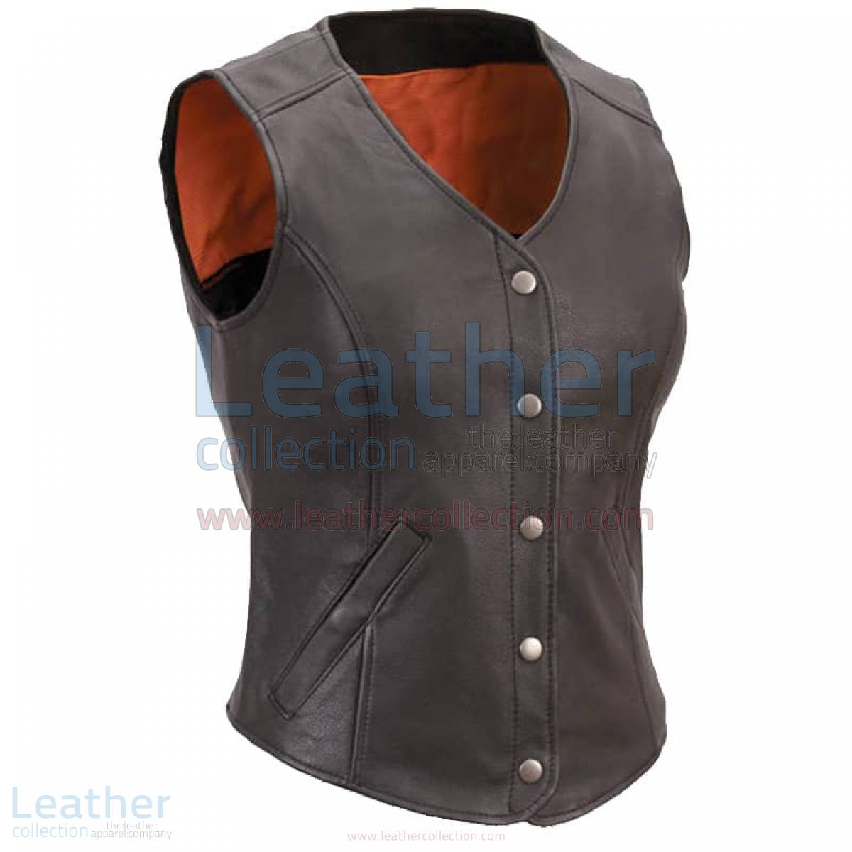 women leather motorcycle vest