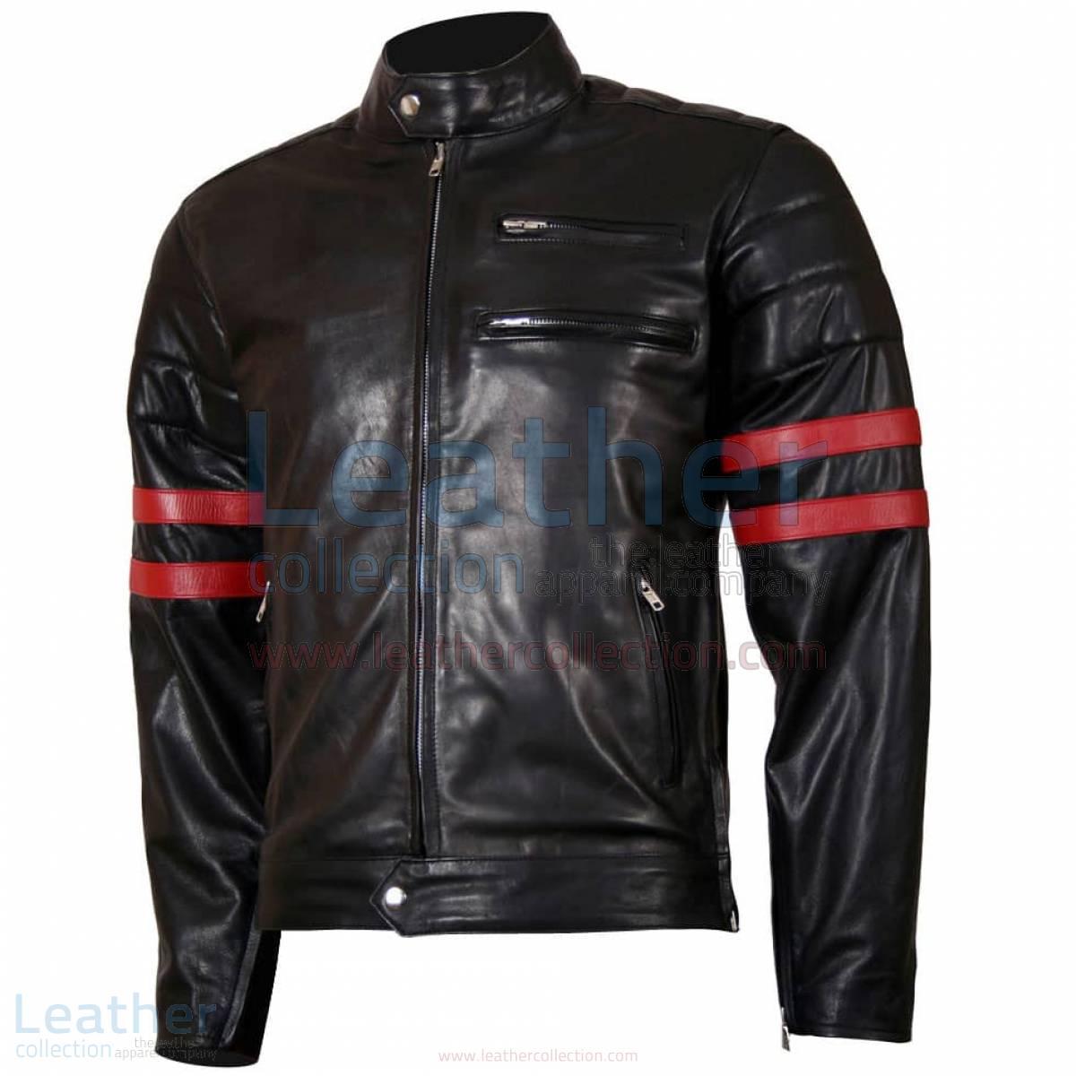 X-Men Wolverine Black with Red Strips Biker Leather Jacket –  Jacket