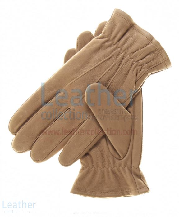 Beige Winter Lined Thinsulate Gloves Upper View