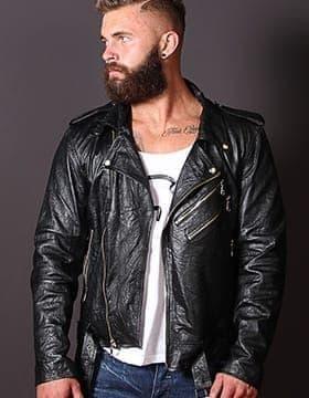 Chaquetas Hombres – Chaqueta Cuero Moto Hombre   Elegante Chaqueta   Leather Collection