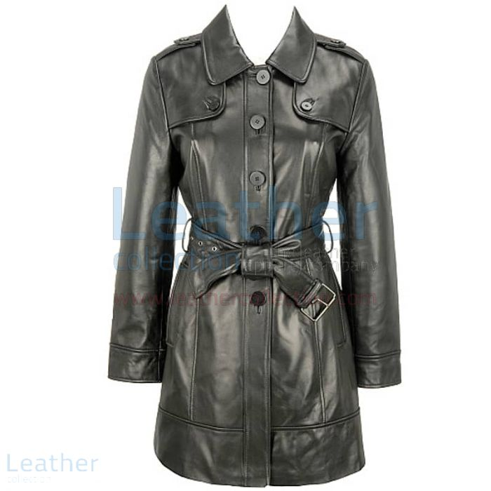 Customize Black Lamb Belted Trench Coat with Thinsulate Lining for ¥4