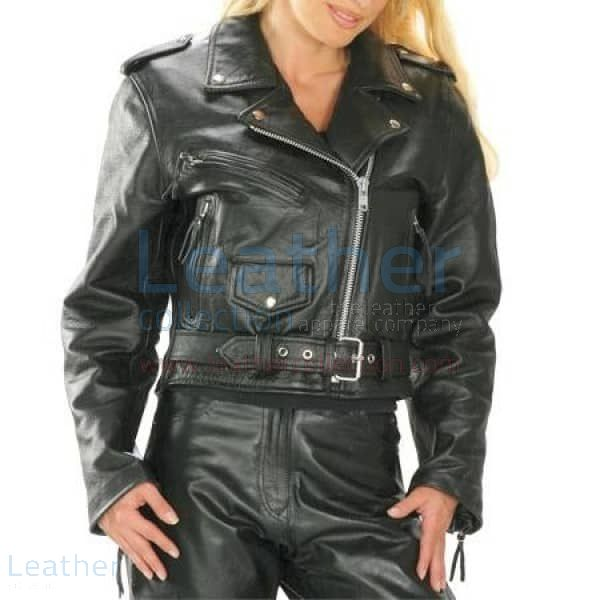 Brando Women Biker Leather Jacket front view