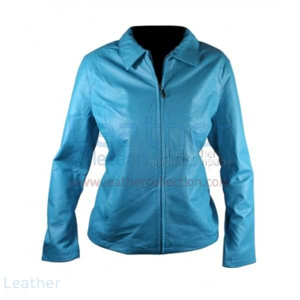 Offering Now Classic Ladies Blue Leather Jacket for SEK1,848.00 in Swe