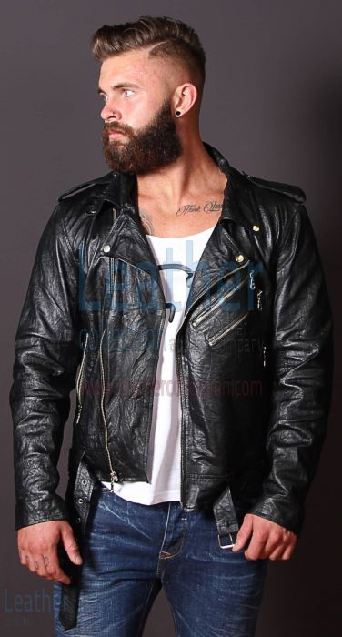 Fashion Men Wrinkle Leather Jacket front view