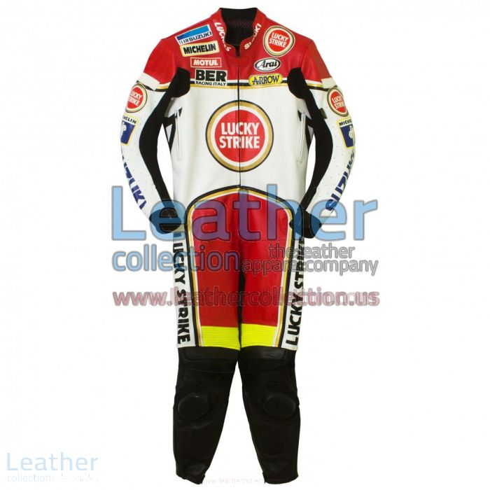 Kevin Schwantz Lucky Strike Suzuki GP 1993 Leathers side view