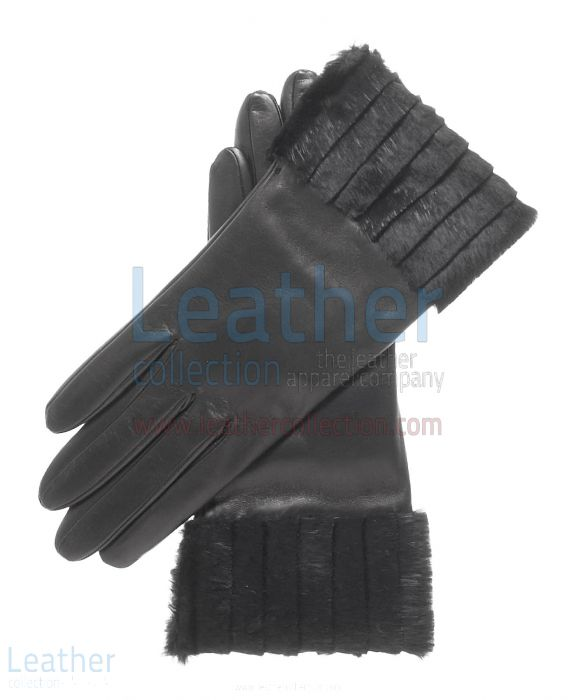 Ladies Fashion Black Fur Cuff Gloves upper view