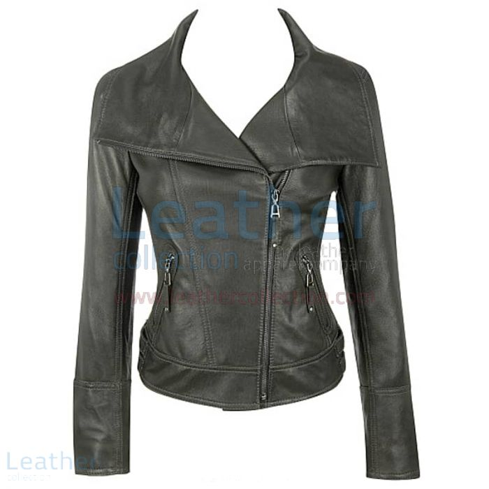 Claim Lamb Leather Asymmetrical Black Jacket for ¥29,568.00 in Japan