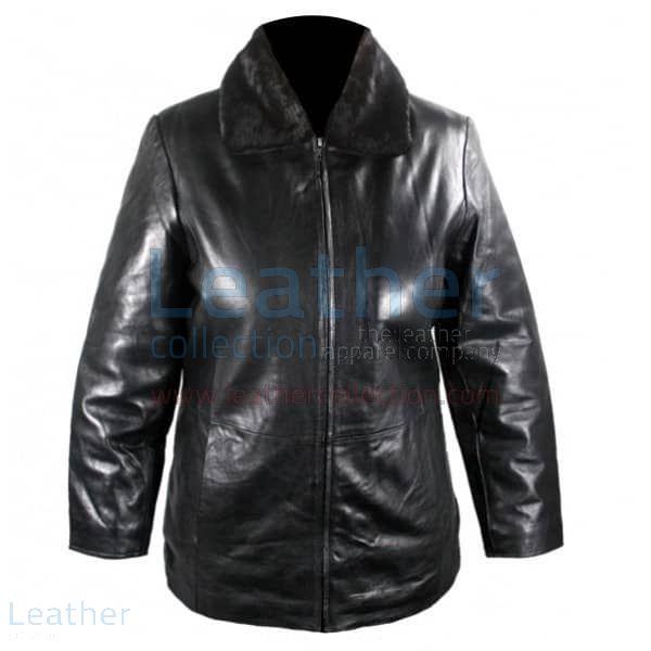 Black Leather Jacket With Fur Collar front view