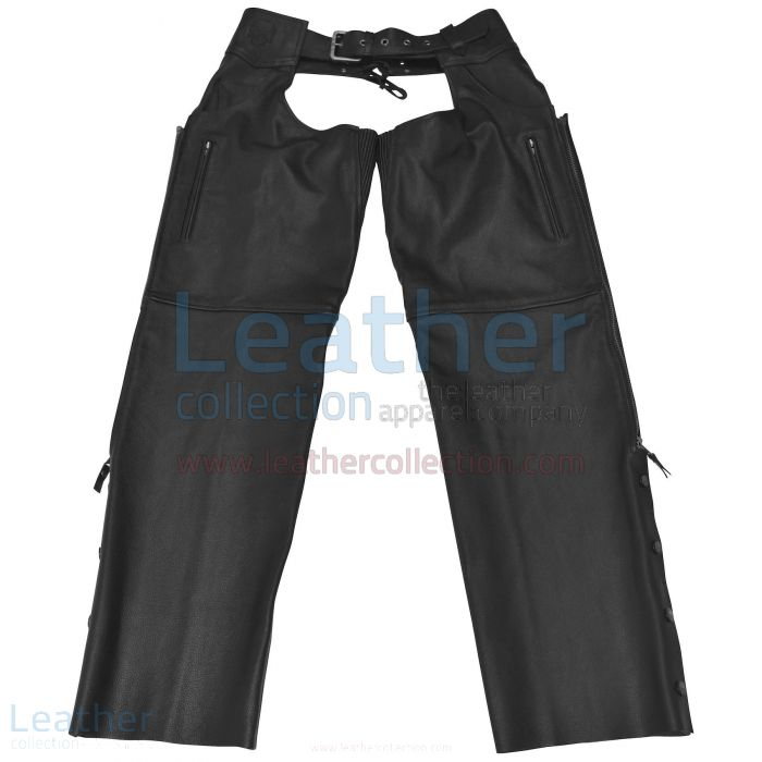 Moto Leather Chaps Black Front View
