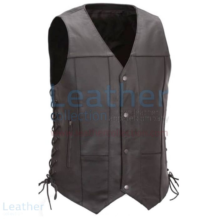 Pick up Now Mens Biker Vest with Gun Concealment Pocket for $125.00
