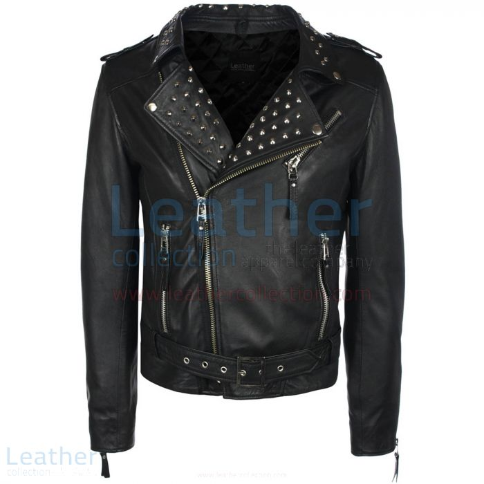 Mens Studded Collar Leather Jacket front