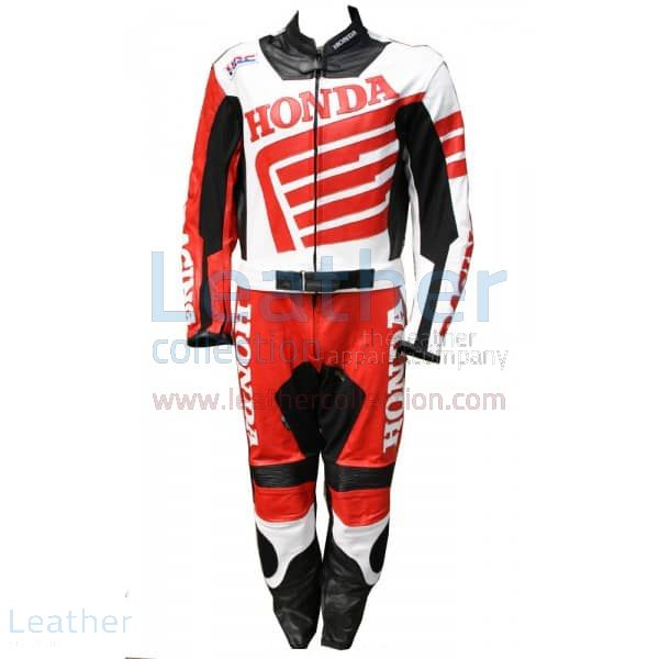Red Honda Motorbike Leather Suit front view