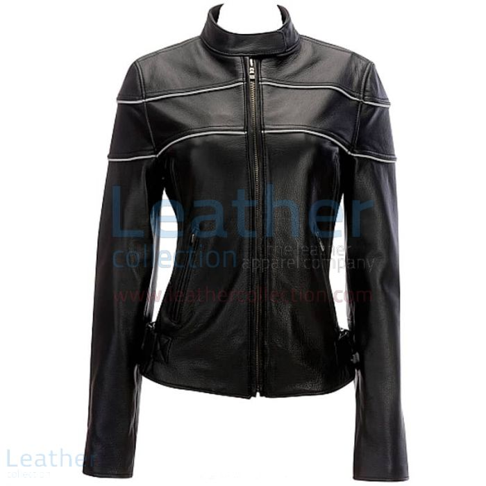 Reflective Piping Womens Leather Biker Jacket Black front view