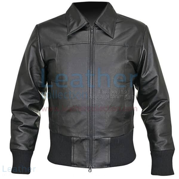 Rib Knit Waist Length Jacket Of Leather front