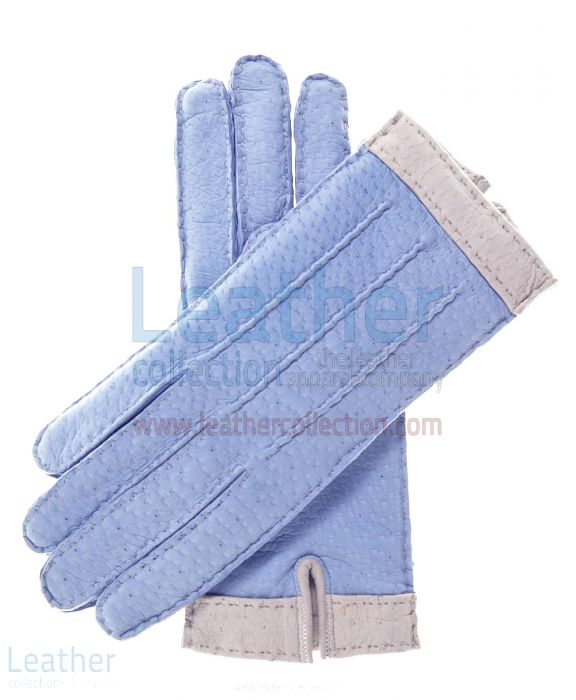 Purchase Sky Blue Lambskin Gloves For Women with Wool Lining for $125.