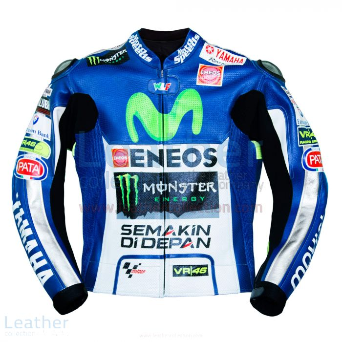 Valentino Rossi Movistar Yamaha 2015 MotoGP Leather Jacket front view