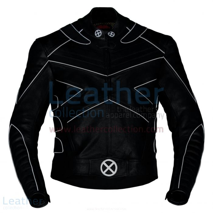 Buy X-Men Motorbike Leather Riding Jacket with Silver Piping