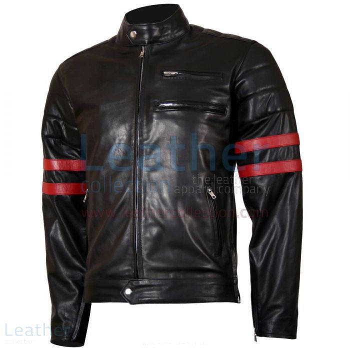 Shop Now X-Men Wolverine Black with Red Strips Biker Leather Jacket fo