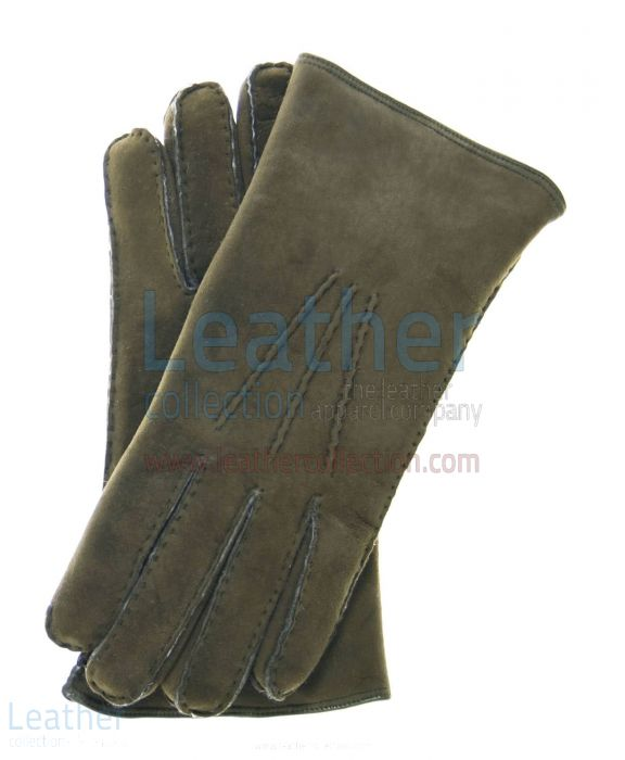 SUEDE SHEARLING GLOVES MEN