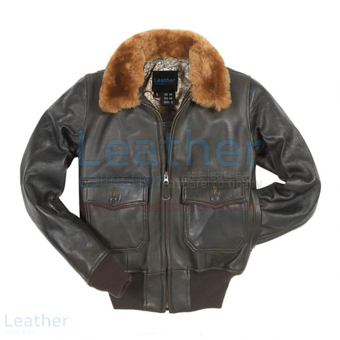 Womens leather bomber jacket with fur collar
